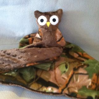 Handmade Ollie The Owl Baby Blanket, Security Minky Dot Brown, Camo