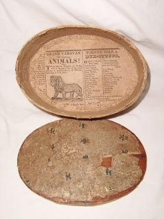 antique wallpaper covered wooden hat box c1823  within