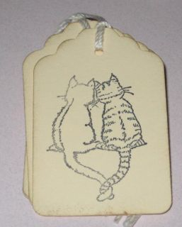 Set of 8 Loving Cats Gift Tags Primitive Handmade