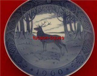 Copenhagen Denmark 1960 The Stag Christmas Plate Signed Hans Hansen