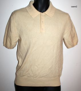 GRAYSON DUNN PURE 100 CASHMERE IVORY COLLAR SHORT SLEEVE SWEATER POLO
