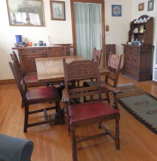 Anique 1930s Solid Mahogany Wood Dining Room Se Huch Buffe able 6