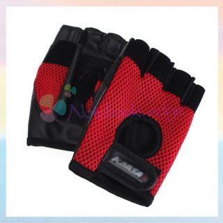 Bicycle Anti slip Half Finger Gloves Cycling Riding Climbing Red Black