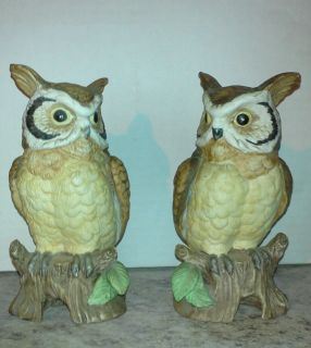 Matching Pair of Vintage Owl Figures Male Female