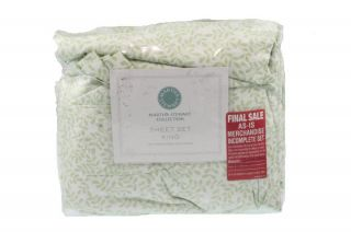 Collection Green Stenciled Leaves 300ct Sheet Set King Queen