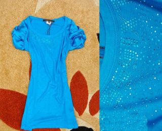 Women Round Neck Floral Sleeve Beads Hubble Sleeve Top Tee Nail Blue M