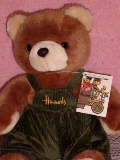 RARE Vintage Harrods Knightsbridge London Dungaree Bear Plush w TAG