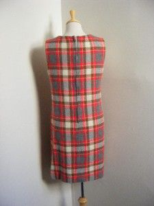 60s Wool Plaid School Girl Jumper Dress Mod J Harlan Original M