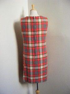 60s Wool Plaid School Girl Jumper Dress Mod J Harlan Original M