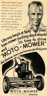 1949 Ad Moto Mower Co Tools Cutting Grass Machine Original Advertising