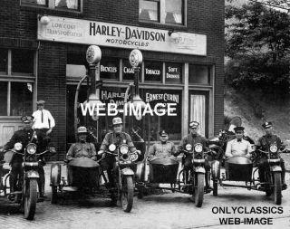 1920 Police Sidecar Harley Davidson Motorcycle Dealer Gas Station Pump