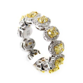 Luxurious 18K White Yellow Gold Diamond Band Ring