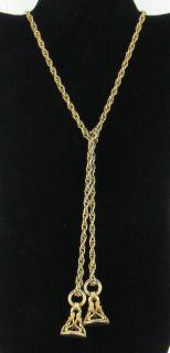 Vintage Two Antique Seal Sautoir Gold Tone Necklace