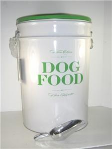 Harry Barker Dog Food Bin White Green 20H