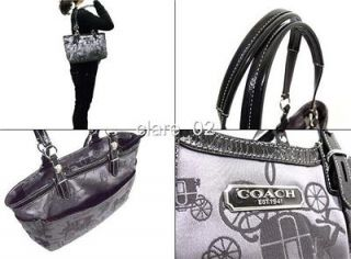 Coach Black Horse Signature Purse Bag Tote 16563