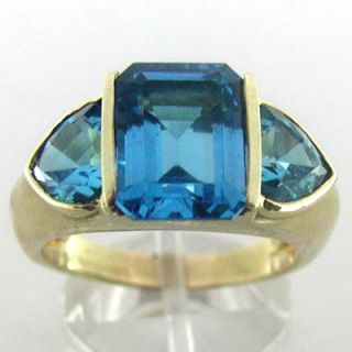 Estate 14k Gold London Blue Topaz Gemstone Ring