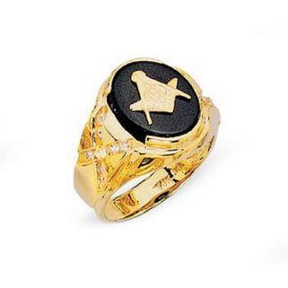 Mens Solid 14k Yellow Gold Black Onyx Masonic Ring