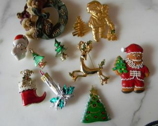 Christmas Gold Silver Rhinestones Enamel Brooches Pins Gerry Avon