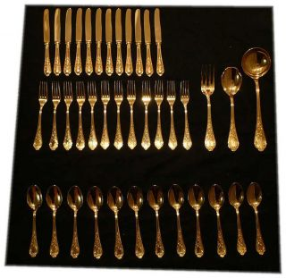 Vintage Epzing 39 Piece Gold Plated Flatware Cutlery Set Italy