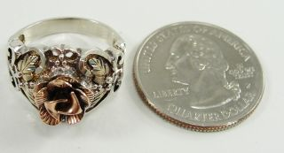 12K Yellow and Rose Gold Sterling Silver Ring Rose & Leaves Size 6