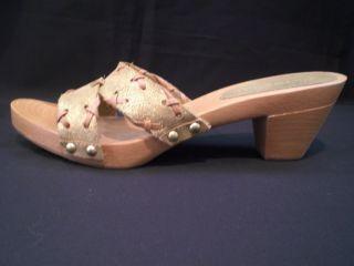 Gold Slides Tommy Hilfiger Wood Sandals Shoes Sparkle Platform Glitter