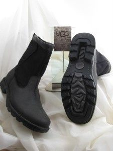 UGG Hartsville Boots Black Leather Sheepskin Mens UK 8 US Sz 9