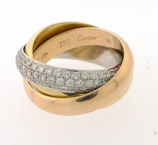 Cartier Trinity Ring 18K 3 Gold with Paved Diamond Ref B4038900