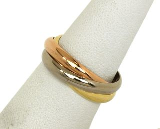 Designer Tri Color 18K Gold Cartier Trinity Rolling Band Ring Size 8 3