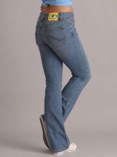 Green Bay Packers Womens Medium Wash Cheerleader Boot Cut Denim Jeans