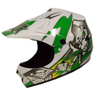 Motocross Motorcross MX ATV Dirt Bike Helmet Skull Green s M L