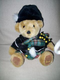 HARRODS KNITSBRIDGE LONDON BAG PIPER BEAR PLUSH SCOTTISH KILT