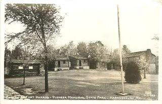 KY Harrodsburg Pioneer Memorial Park Cabins RPPC T67175