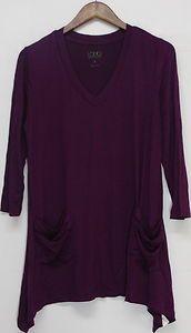 Logo by Lori Goldstein Sz S V neck Top 3 4 Sleeve Chiffon Trim Purple