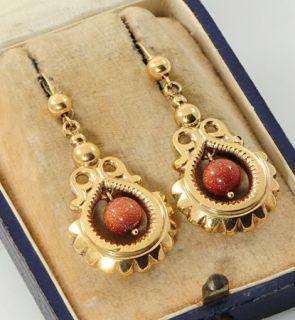 Victorian 9 Carat Gold Goldstone Drop Earrings Dated 1875