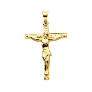 Jewelryweb 14k Yellow Gold Cross PendantWith Crucifix 24.5x19.25