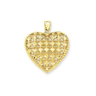 Jewelryweb 14k Diamond Cut Open Puffed Heart Pendant   QTP101206NC