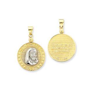 Jewelryweb 14K Two tone Mother Teresa Joy Medal Pendant