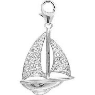EZ Charms 14K 1.15 Grams White Gold Diamond Sailboat Charm