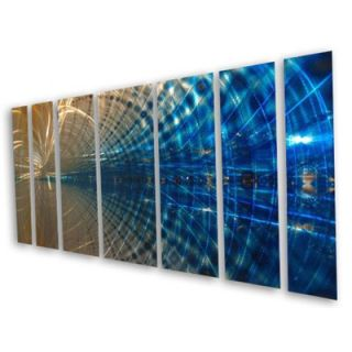 Abstract by Ash Carl 3 Dimensional Metal Wall Art in Blue  23.5 x 60