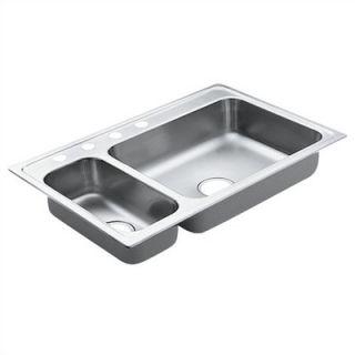 Moen Excalibur 33 x 22 Unequal Double Bowl Drop In Sink