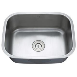 Kraus Stainless Steel Undermount 23 Single Bowl Kitchen Sink with 14