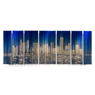 by Ash Carl Metal Wall Art in Blue and Silver   23.5 x 60