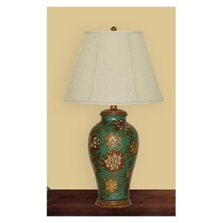 JB Hirsch 29 Green Floral Porcelain Table Lamp   J15454E16