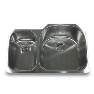 Nantucket Sinks 31.5 Reversed Offset Double Bowl Undermount Kitchen