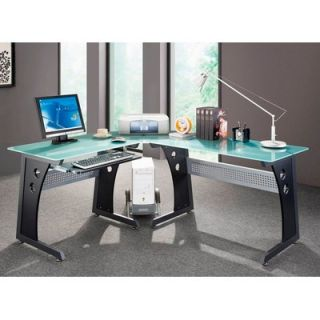 Techni Mobili Graphite & Frosted Glass L Shaped Computer Desk with CPU