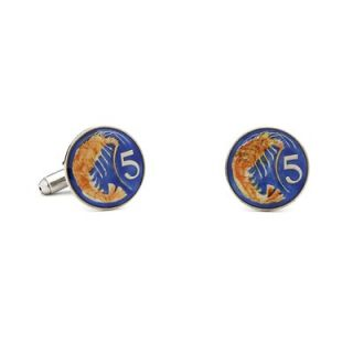 Penny Black 40 Hand Painted Caymen Island Five Cent Coin Cufflinks