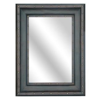 Crestview Beveled Leather Studded Wall Mirror   CVMRA290