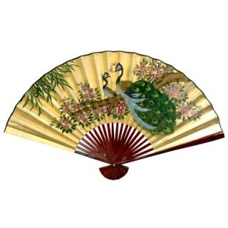 Oriental Furniture 30 x 48 Peacocks Wall Fan in Gold Leaf   YJ38