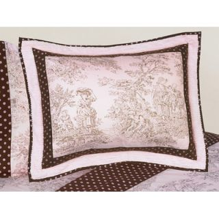 Sweet Jojo Designs Pink and Brown French Toile and Polka Dot Pillow