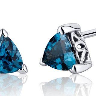 Oravo 1.50 Carats London Blue Topaz Trillion Cut V Prong Stud Earrings